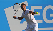 June 16th 2017, Nottingham, England; ATP Aegon Nottingham Open Tennis Tournament day 5;  Lloyd Glasspool of Great Britain in action on centre court in the quarter final against Dudi Sela of Israel