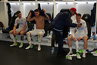 Pictured: (L-R) Keston Davies, Joe Rodon, Kenji Gorre and Jay Fulton of Swansea City in the changing room after the game Monday 15 May 2017<br /> Re: Premier League Cup Final, Swansea City FC U23 v Reading U23 at the Liberty Stadium, Wales, UK