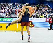 2nd February 2019, Karlsruhe, Germany;  High jump men: Gianmarco Tamberi (ITA) bears winner Naoto Tobe (JAP). IAAF Indoor athletics meeting, Karlsruhe
