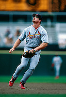 Mark McGwire of the St.Louis Cardinals during a game at Candlestick Park in San Francisco, California during the 1997 season.(Larry Goren/Four Seam Images)