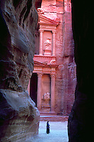 Treasury,View through the Siq. Petra, Kingdom of Jordan