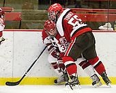 Pier-Olivier Michaud (Harvard - 39), Bobby Torney (St. Lawrence - 55) - The Harvard University Crimson defeated the St. Lawrence University Saints 4-3 on senior night Saturday, February 26, 2011, at Bright Hockey Center in Cambridge, Massachusetts.