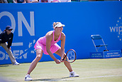 June 15th 2017, Nottingham, England; WTA Aegon Nottingham Open Tennis Tournament day 6;  Yanina Wickmayer of Belgium waits to receive a serve from Johanna Konta of Great Britain