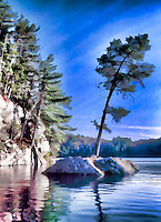 Canadian Lake with painterly effect.