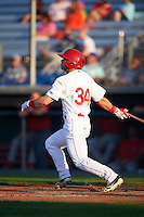 Auburn Doubledays left fielder Nick Banks (34) at bat during a game against the Williamsport Crosscutters on June 25, 2016 at Falcon Park in Auburn, New York.  Auburn defeated Williamsport 5-4.  (Mike Janes/Four Seam Images)