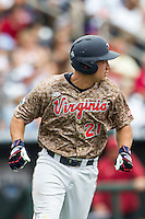 Virginia Cavaliers catcher Matt Thaiss (21) runs to first base against the Arkansas Razorbacks in Game 1 of the NCAA College World Series on June 13, 2015 at TD Ameritrade Park in Omaha, Nebraska. Virginia defeated Arkansas 5-3. (Andrew Woolley/Four Seam Images)