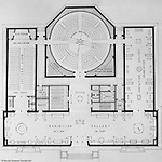 Pittsburgh PA:  View of a drawing created by Ingram & Boyd Architects of the new Buhl Planetarium.  This view is a close-up of the initial 1st floor layout of the planetarium. The project was completed in 1939.  The Buhl Planetarium was built with monies from the Buhl Foundation; a foundation created by the wealthy North Side clothier Henry Buhl of Boggs and Buhl department store fame.  Brady Stewart was selected for the job due to his specialized equipment; an 8x10 Dierdorff camera, and his expertise in lighting and photographing large renderings and drawings.
