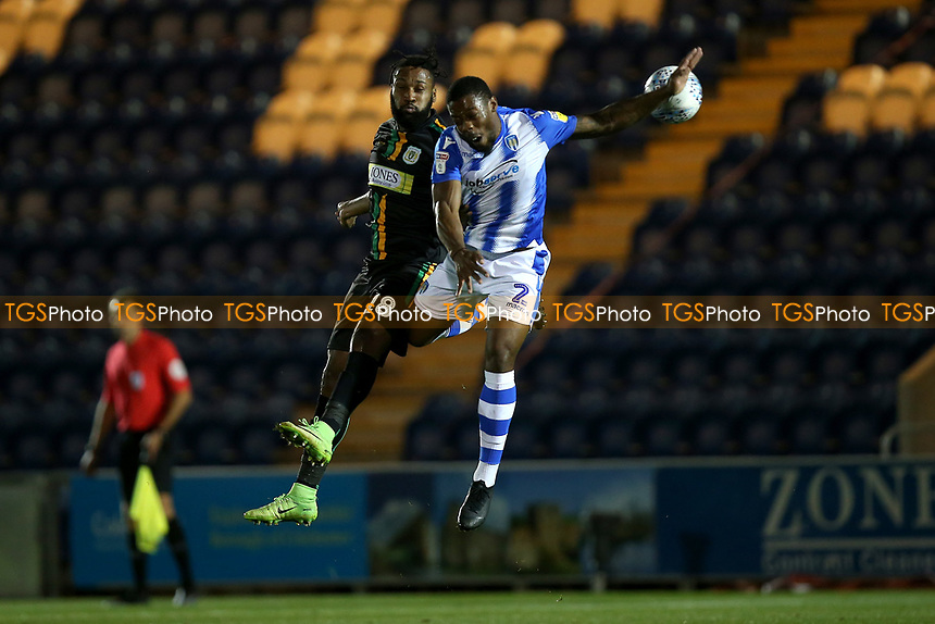 Yoann Arquin of Yeovil Town and Ryan Jackson of Colchester United during Colchester United vs Yeovil Town, Sky Bet EFL League 2 Football at the JobServe Community Stadium on 2nd October 2018