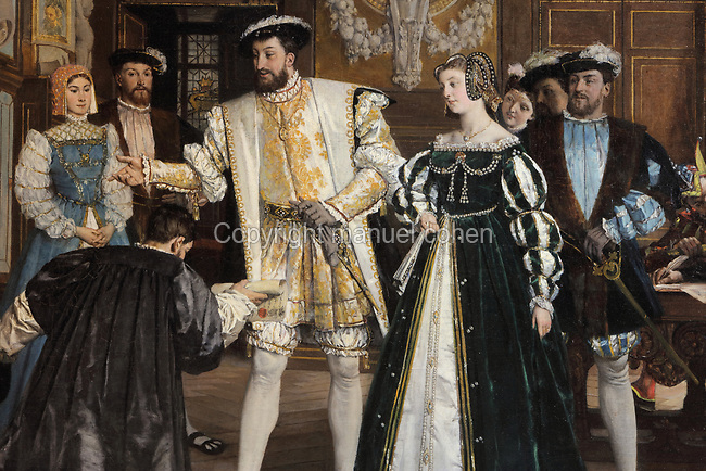 Francois I giving the titles and benefits of the Abbey of Saint-Martin to Rosso, detail, oil painting on canvas, 1865, by Isidore Patrois, 1815-84, in the collection of the Depot du Fonds National d'Art Contemporain, in the Salle des Valois, with collections belonging to the Valois, especially Francois I, on the first floor of the Francois I wing, built early 16th century in Italian Renaissance style, at the Chateau Royal de Blois, built 13th - 17th century in Blois in the Loire Valley, Loir-et-Cher, Centre, France. The chateau has 564 rooms and 75 staircases and is listed as a historic monument and UNESCO World Heritage Site. Picture by Manuel Cohen