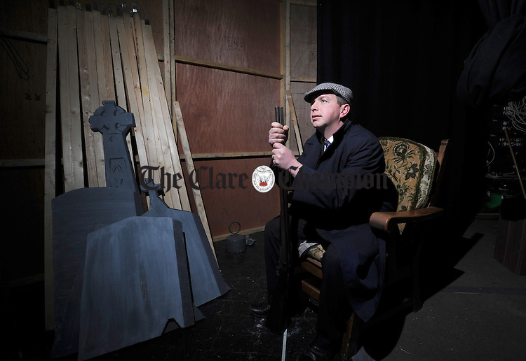 Shaunie Honan waits backstage for his entrance during rehearsals fo the Doonbeg Drama Group's production of Big Maggie. Photograph by Declan Monaghan