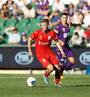 11th January 2020; HBF Park, Perth, Western Australia, Australia; A League Football, Perth Glory versus Adelaide United; Riley McGree of Adelaide United dribbles the ball through the middle - Editorial Use