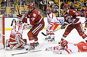 Sean Escobedo (BU - 21), Alex Killorn (Harvard - 19), Sean Escobedo (BU - 21), Alex Fallstrom (Harvard - 16), Sahir Gill (BU - 28) - The Boston University Terriers defeated the Harvard University Crimson 3-1 in the opening round of the 2012 Beanpot on Monday, February 6, 2012, at TD Garden in Boston, Massachusetts.