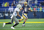 Annapolis, MD - September 8, 2018: Navy Midshipmen wide receiver Collins Woods III (81) runs the football for a first down during game between Memphis and Navy at  Navy-Marine Corps Memorial Stadium in Annapolis, MD. (Photo by Phillip Peters/Media Images International)