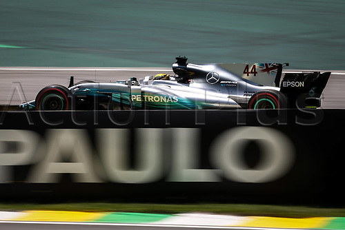 10th November 2017, Autodromo Jose Carlos Pace, Sao Paolo, Brazil; F1 Grand Prix of Brazil, Free practise sessions; 44 Lewis Hamilton (GBR, Mercedes AMG Petronas F1 Team), Sao Paulo Brazil