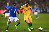 June 13th 2017, Melbourne Cricket Ground, Melbourne, Australia; International Football Friendly; Brazil versus Australia; Bailey Wright of Australia clears as Jose Paulo Maciel Junior of Brazil closes him down