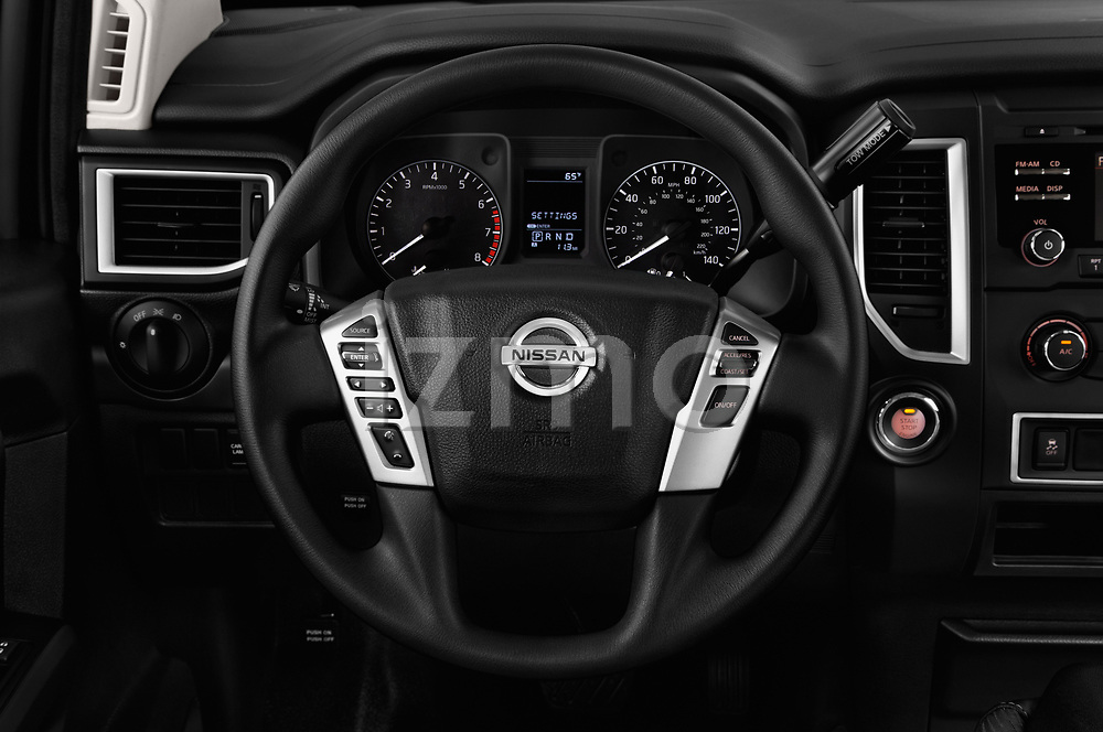 Car pictures of steering wheel view of a 2017 Nissan Titan S-Single 2 Door Pick-up Steering Wheel