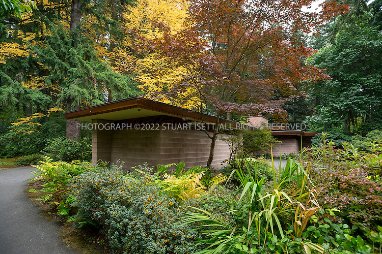 "10/9/2012--Sammamish, WA, USA..VIEW: Exterior showing separate office/study room next to car port...Architect Frank Lloyd Wright planned his ""Usonian"" homes to be affordable for middle-class families. The 1,9500 square foot Brandes home is for sale in Sammamish, Washington (30 minutes from Seattle) at $1.39 million. It features three bedrooms, two bathrooms and a small, separate office/study space...The home was built in 1952, and has redwood trim and Wright's original furniture and some garden sculptures by Wright. It's one of only three Frank Lloyd Wright homes near Seattle...©2012 Stuart Isett. All rights reserved."