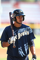 Jose Carlos Urena (27) of the Tri-City Dust Devils before a game against the Vancouver Canadians at Nat Bailey Stadium on July 23, 2015 in Vancouver, British Columbia. Tri-City defeated Vancouver, 6-4. (Larry Goren/Four Seam Images)