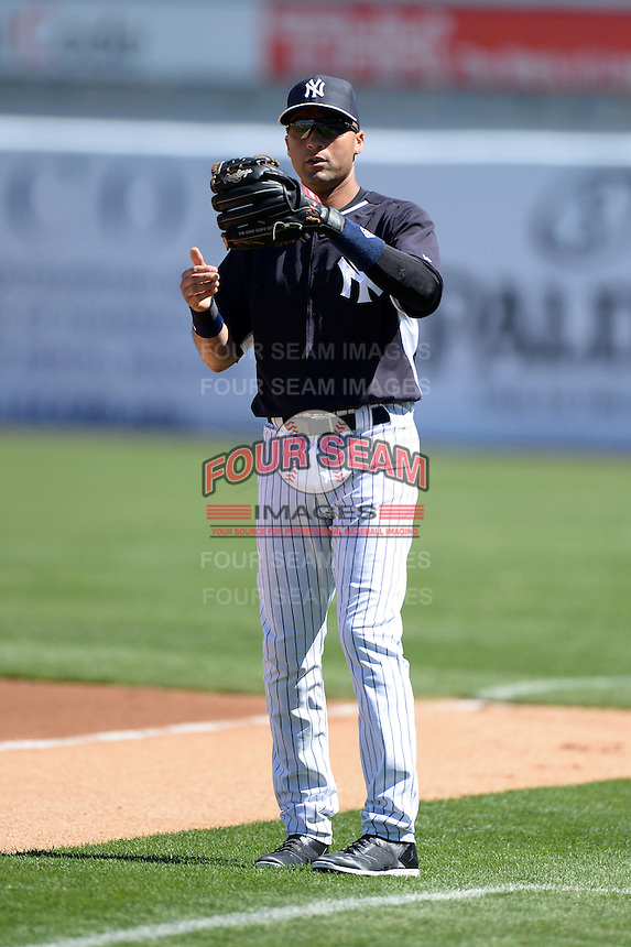 Shortstop Derek Jeter (2) of the New York Yankees before a spring training game against the Philadelphia Phillies on March 1, 2014 at Steinbrenner Field in Tampa, Florida.  New York defeated Philadelphia 4-0.  (Mike Janes/Four Seam Images)