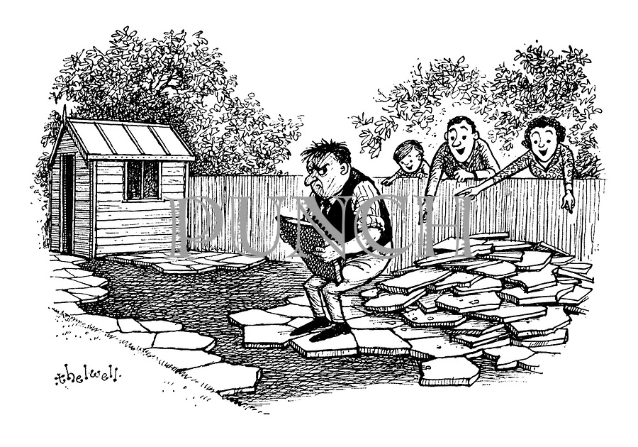 (Neighbours tell a frustrated gardener where to put his crazy paving)