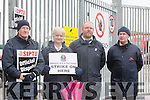 Bus Drivers on strike outside Tralee bus station on Friday Front l-r Mike Jordan, Marie Hagerty, Mark Thompson, and Mike Griffin