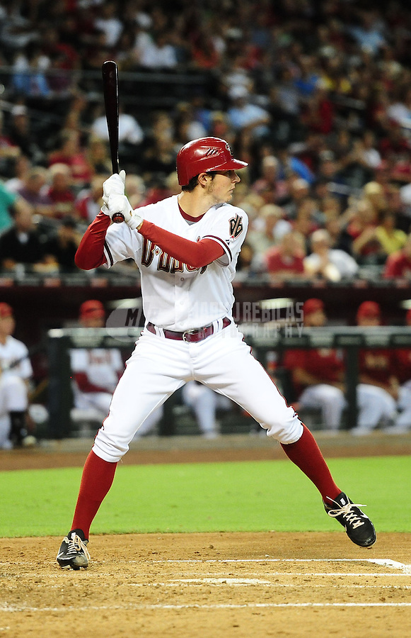 Jul. 3, 2012; Phoenix, AZ, USA: Arizona Diamondbacks pitcher Trevor Bauer bats against the San Diego Padres at Chase Field. Mandatory Credit: Mark J. Rebilas-