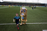 The home club mascot Baxter the Bridie and a mascot on the pitch at Station Park, Forfar before the SPFL League 2 fixture between Forfar Athletic and Edinburgh City. It was the club's sixth and final meeting of City's inaugural season since promotion from the Lowland League the previous season. City came from behind to win this match 2-1, watched by a crowd of 446.