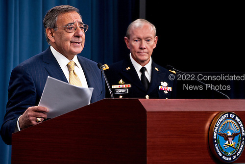 United States Secretary of Defense Leon Panetta and General Martin Dempsey, Chairman of the Joint Chiefs of Staff deliver a press brief after the departure of U.S. President Barack Obama at the Pentagon on January 5, 2012. President Obama and Secretary Panetta delivered remarks on the Defense Strategic Guidance for the Defense Department going forward. They were joined by Deputy Defense Secretary Ashton Carter and the members of the Joint Chiefs and Service Secretaries..Mandatory Credit: Erin A. Kirk-Cuomo / DoD via CNP