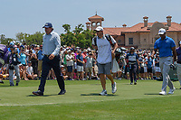 Phil Mickelson (USA) and Tiger Woods (USA) head down 1 during round 1 of The Players Championship, TPC Sawgrass, at Ponte Vedra, Florida, USA. 5/10/2018.<br /> Picture: Golffile | Ken Murray<br /> <br /> <br /> All photo usage must carry mandatory copyright credit (&copy; Golffile | Ken Murray)