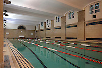 Swimming pool in the Maison Internationale or International House, designed by Lucien Bechmann, 1880-1968, and Jean-Frederic Larson in 1936, in the Cite Internationale Universitaire de Paris, in the 14th arrondissement of Paris, France. The CIUP or Cite U was founded in 1925 after the First World War by Andre Honnorat and Emile Deutsch de la Meurthe to create a place of cooperation and peace amongst students and researchers from around the world. It consists of 5,800 rooms in 40 residences, accepting another 12,000 student residents each year. Picture by Manuel Cohen. Further clearances may be requested.