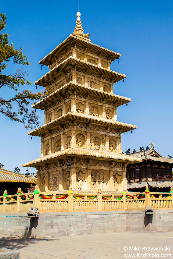 Pagoda at the Yungang Grottoes in Datong, China