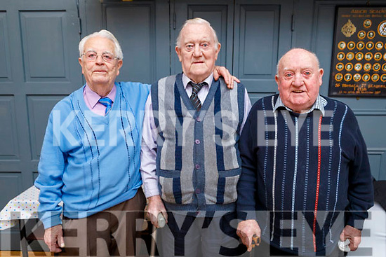 John Thornton, Michael Carmody and Bertie Flynn enjoying the Connolly Park Active Retirement party in the Austin Stacks Clubhouse on Sunday.