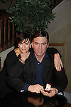 """As The World Turns' Colleen Zenk stars in Marrying George Clooney: Confessions from a Midlife Crisis presented by the Cap21 Theatre Company and they pose with """"George Clooney"""" on February 16, 2012 at Madame Tussauds Wax Museum, New York City, New York.  (Photo by Sue Coflin/Max Photos)"""