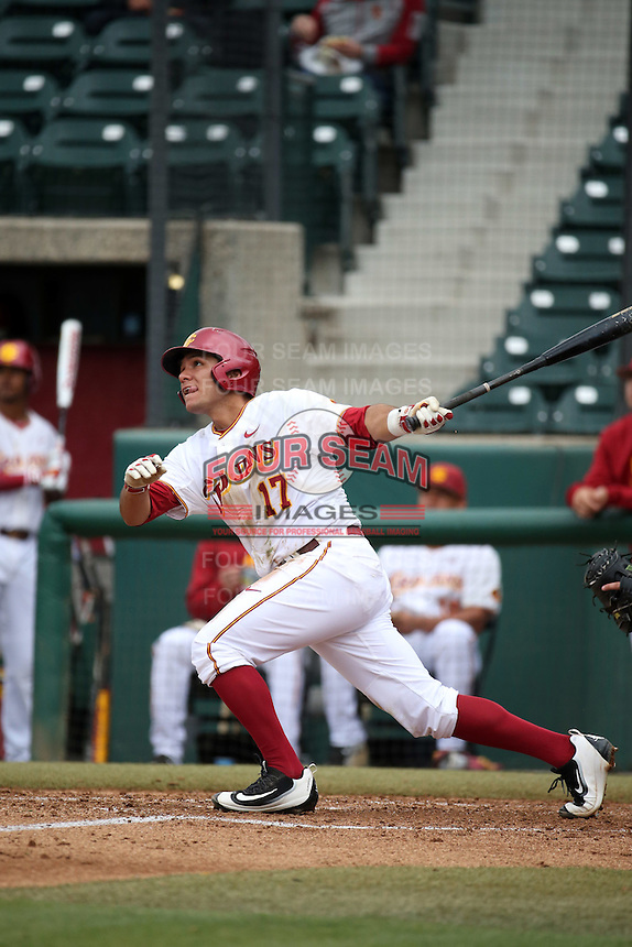 Frankie Rios (17) of the Southern California Trojans bats against the Mississippi State Bulldogs at Dedeaux Field on March 5, 2016 in Los Angeles, California. Mississippi State defeated Southern California , 8-7. (Larry Goren/Four Seam Images)