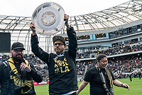 LOS ANGELES, CA - MARCH 01: Fans parade the Supporter's Shield around the pitch at LAFC's home opener against Inter Miami CF during a game between Inter Miami CF and Los Angeles FC at Banc of California Stadium on March 01, 2020 in Los Angeles, California.