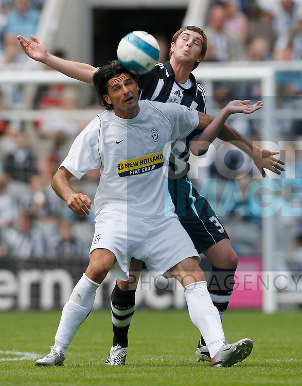 Newcastle's Paul Huntington challenges Juventus' Vincenzo Iaquinta.Pic SPORTIMAGE/Simon Bellis..Pre-Season Friendly..Newcastle United v Juventus..29th July, 2007..--------------------..Sportimage +44 7980659747..admin@sportimage.co.uk..http://www.sportimage.co.uk/
