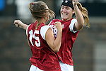 22 November 2013: Arkansas' Margaret Power (28) and Yvonne DesJarlais (15). The University of Arkansas Razorbacks played the Saint John's University Red Storm at Koskinen Stadium in Durham, NC in a 2013 NCAA Division I Women's Soccer Tournament Second Round match. Arkansas won the game 1-0.