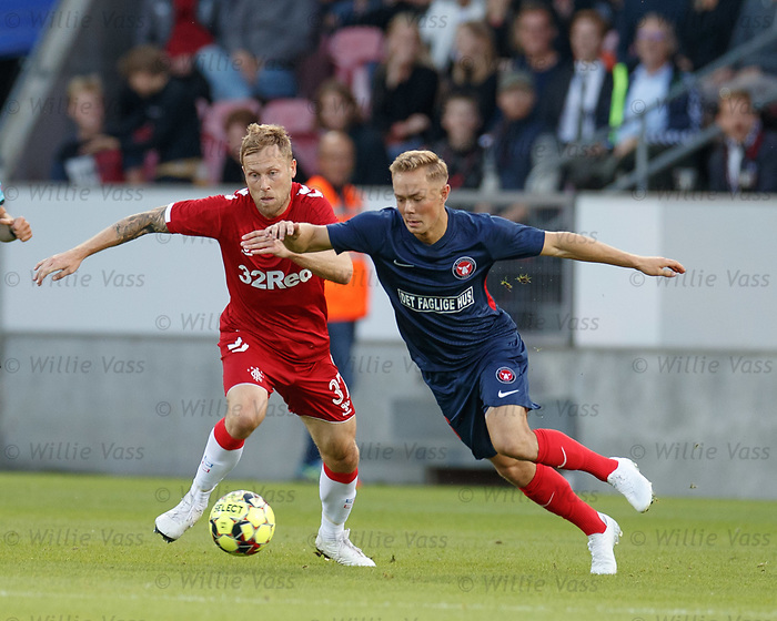 08.08.2019 FC Midtjylland v Rangers: Scott Arfield and Joel Andersson