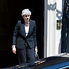 Theresa May <br /> Prime Minister <br /> makes a speech in Downing Street following a terrorist attack on the Finsbury Park Mosque 19th June 2017 <br /> <br /> Theresa May outside No. 10 Downing Street, London, Great Britain <br /> LEAVES TO VISIT FINSBURY PARK MOSQUE <br /> <br /> Photograph by Elliott Franks <br /> Image licensed to Elliott Franks Photography Services