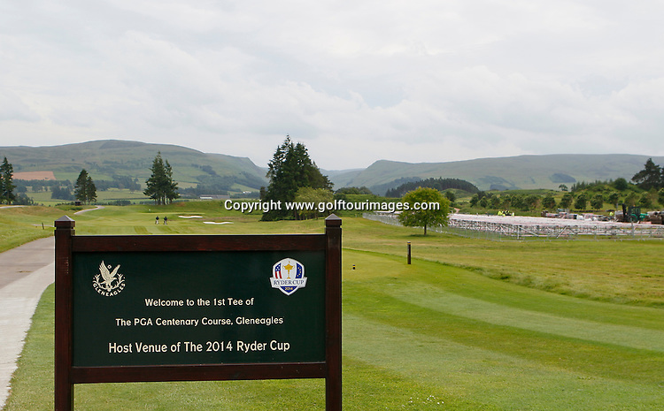 General view of the preparations starting on the 1st hole of the PGA Centenary Course, Gleneagles  ahead of the 2014 Ryder Cup which will be played over the PGA Centenary Course at Gleneagles from 23rd to 28th September 2014: Picture Stuart Adams www.golftourimages.com: 26th June 2014