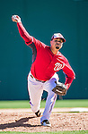 13 March 2014: Washington Nationals pitcher Manny Delcarmen on the mound during a Spring Training game against the New York Mets at Space Coast Stadium in Viera, Florida. The Mets defeated the Nationals 7-5 in Grapefruit League play. Mandatory Credit: Ed Wolfstein Photo *** RAW (NEF) Image File Available ***