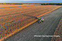 63801-12816 Harvesting corn and unloading into grain cart in fall-aerial  Marion Co. IL