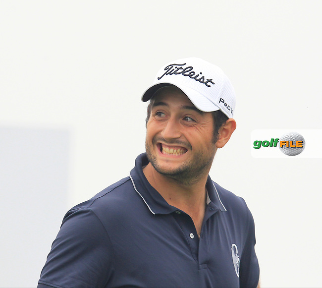 Alexander Levy (FRA) all smiles on the 15th tee during Saturay's Round 3 of the 2014 BMW Masters held at Lake Malaren, Shanghai, China. 1st November 2014.<br /> Picture: Eoin Clarke www.golffile.ie
