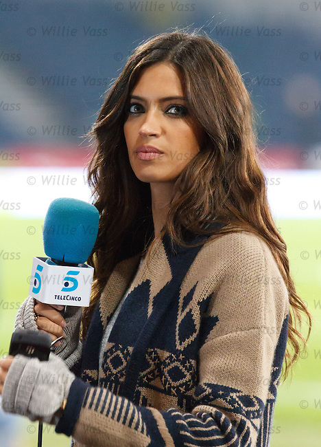Sara Carbonero, girlfriend of Spain goalkeper iker Casillas prepares he pre match introduction for Spanish TV