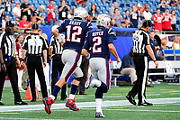 August 9, 2018: New England Patriots quarterback Tom Brady (12) and quarterback Brian Hoyer (2) jog onto the field to warm up prior to the NFL pre-season football game between the Washington Redskins and the New England Patriots at Gillette Stadium, in Foxborough, Massachusetts.The Patriots defeat the Redskins 26-17. Eric Canha/CSM
