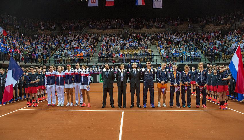 Arena Loire,  Trélazé,  France, 16 April, 2016, Semifinal FedCup, France-Netherlands, Opening ceremony, <br /> Photo: Henk Koster/Tennisimages