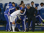 Jose Mourinho manager of Chelsea checks on Eden Hazard of Chelsea - English Premier League - Leicester City vs Chelsea - King Power Stadium - Leicester - England - 14th December 2015 - Picture Simon Bellis/Sportimage