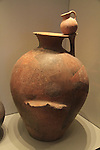 Israel, Jerusalem, Jar with a dipper juglet from Arad, on display at the Israel Museum