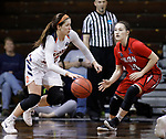 SIOUX FALLS, SD: MARCH 19:  Kayla Marosites #1 of Carson Newman drives toward Emily Beard #24 of Union (Tenn) during their game at the 2018 Division II Women's Elite 8 Basketball Championship at the Sanford Pentagon in Sioux Falls, S.D. (Photo by Dick Carlson/Inertia)