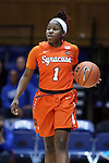 10 February 2017: Syracuse's Alexis Peterson. The Duke University Blue Devils hosted the Syracuse University Orange at Cameron Indoor Stadium in Durham, North Carolina in a 2016-17 Division I Women's Basketball game. Duke won the game 72-55.